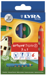Lyra Groove 3in1: aquarelpotlood, kleurpotlood en waskrijt (6st)