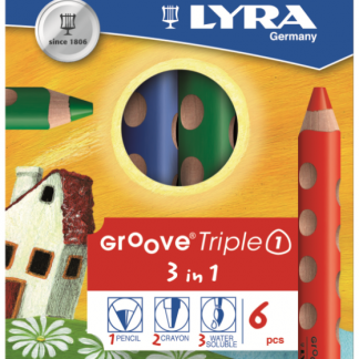 Lyra Groove 3in1: aquarelpotlood, kleurpotlood en waskrijt (6st)